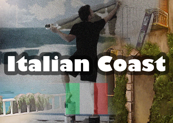 Italian coast mural off of kitchen